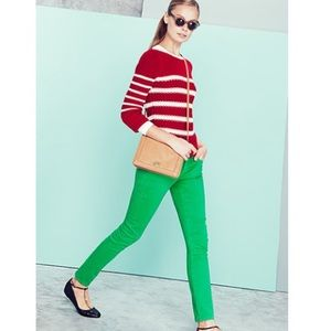 J Crew bright green matchstick skinny jeans